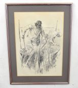 British, 20th century, The Reedcutters, pencil on paper, indistinctly signed, 19 x 14ins
