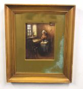 Attributed to A AUSTIN (British, 20th century), A Victorian genre scene, a seated woman reading by a
