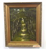 An alleyway of silver birches, oil on board, indistinctly signed, 12 x 11ins