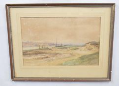 E. Jennings (British 19C), A coastal view looking inland. Watercolour, signed. Approx 13x19 inches.