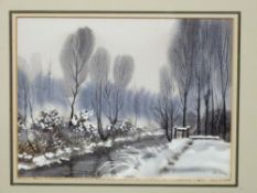 Peter Solly (British 20C), 'Sluice Gate, Corpusty' and 'Winter at Corpusty'. Watercolour on paper (