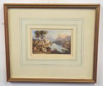 Five small landscapes, some English, others Continental including Lake Geneva, watercolour on paper,