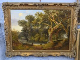 British, 19th century, An expansive woodland scene with figure resting on felled timber, oil on