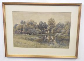 British, 20th century, A rural landscape with farm buildings overlooking a river, watercolour,