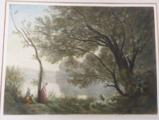 A pastoral landscape with mother and daughter by a tree. Coloured lithograph, indistinctly signed in