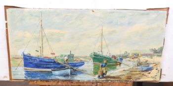 Jean Kevan (British 20C), Fishermen unloading the day's catch to the foreshore. Oil on board,