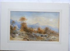 Edward Tucker (British 19C), A Continental landscape . Watercolour on paper, signed. Approx 9x15