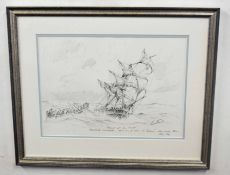 Kenneth Grant (British20C), A sketch titled 'Rescue of all hands' Sheringham fisherman saving the