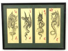 Ray Brooks (British 20C), A set of 4 limited edition prints of dragons in various poses . Engravings