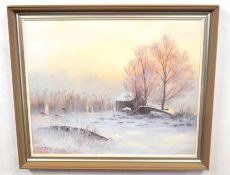 DAVID DANE (British, 20th century), Norfolk landscape, oil on canvas, signed, 22 x 23ins