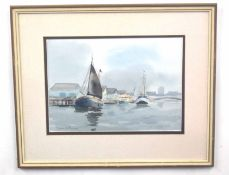 BRIAN BOWEN (British, 20th century), Merchantman moored in harbour and a second painting of