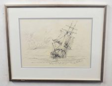 Kenneth Grant (British C20), A sketch of the trading brig the 'Countess of Leicester' . Pencil on