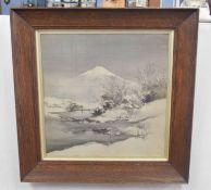 Japanese landscape looking onto Mount Fuji, ink wash laid on fabric, 22 x 20ins