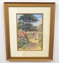 ELLEN WARRINGTON (British, 20th century), An English summer garden, watercolour on card, 13 x 9ins