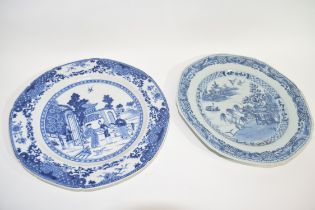 18th century Chinese porcelain octagonal plate together with a further 19th century example (a/f)