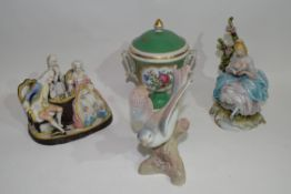 Group of ceramic figures including bird model and Continental porcelain vase and cover decorated
