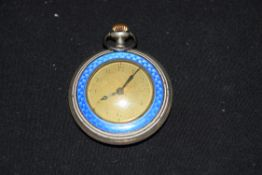 Unusual ladies pocket watch, the case decorated with blue enamel, the unsigned dial with Arabic