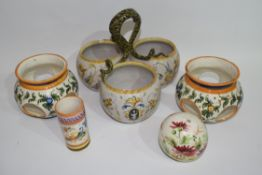 Group of French faience bowls and a small cylindrical vase (qty)