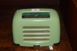 Vintage KB radio model FB10 circa 1950, in green case, 25cm wide