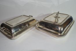 Two plated tureens and covers
