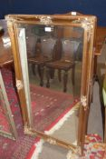 Reproduction gilt framed rectangular wall mirror, 113cm high