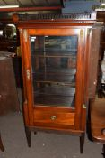 19th century mahogany display cabinet, the top with fretwork cornice over a body with single