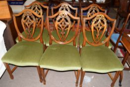 Set of six reproduction shield back dining chairs with green upholstered seats