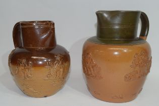 Doulton Lambeth brown harvest ware jug together with a similar example from the Port Dundas pottery,