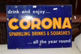 Vintage enamel advertising sign 'Corona sparkling drinks and squashes', 76cm wide