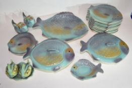 Part fish shaped dinner service by Shorter & Sons comprising various plates, two serving tureens,