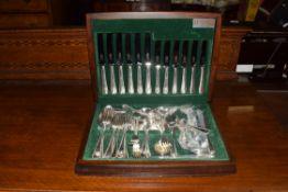 Butler Cutlery, Sheffield, England modern canteen of silver plated cutlery, case 40cm wide