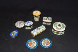Collection of various Limoges and other French porcelain pill boxes of various shapes and designs