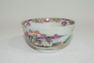 Small Chinese bowl, 18th century, with polychrome design of horses in a landscape, 9cm diam (rim