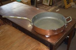 Large 19th century copper frying pan marked to side Elkington & Co, Patent, 82cm long