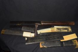 """Mixed lot of rulers and drawing instruments comprising a small folding bone or ivory ruler marked """""""