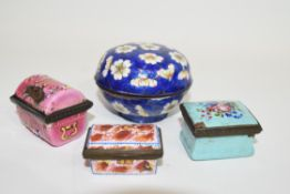 Small Chinese cloisonne bowl, the blue enamel with floral decoration, together with three further