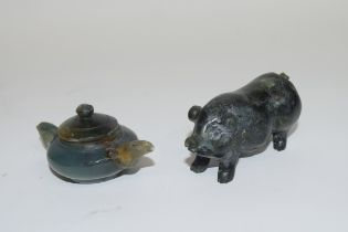 Small boxed miniature jadeite tea pot and further small model of a pig (2)