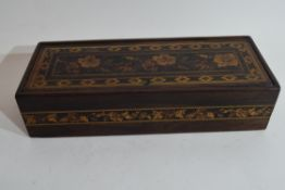 Small Victorian Tonbridge ware box, the lid decorated with central floral panel and geometric