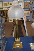 Palmer & Co patent oil lamp fitted with frosted glass shade with star cut decoration, raised on a