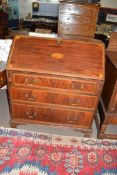 19th century fall front bureau with inlaid decoration throughout, raised on bracket feet with fitted