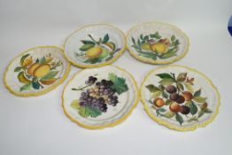 Group of faience style French dishes decorated with fruit (5)
