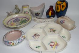 Group of mainly Poole wares with floral designs including two vases from the high fired Delphis