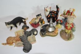 Group of ceramic sculptures including various models of cats and Royal Doulton Rupert the Bear (