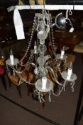 Contemporary five-light chandelier set with clear prismatic glass drops, approx 75cm high
