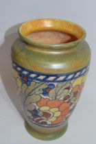 Charlotte Rhead vase with autumn leaves type design, together with a smaller Bursley ware