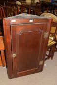 Georgian mahogany corner cabinet with single panelled door, 99cm high