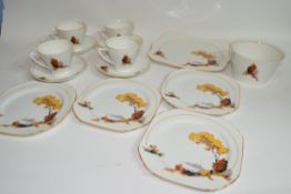 Quantity of Art Deco tea wares with landscape design made by Heathcote China comprising four cups,