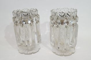 Two small table lustres in clear glass