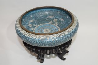 Chinese cloisonne bowl, the blue ground with geometric white floral design, 20cm diam