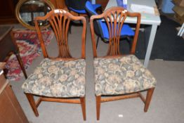 Pair of 19th century elm framed and fabric seated dining chairs with pierced backs